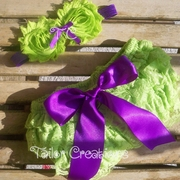 Plum & Lime Green Shabby Chic Headband & Petti Lace Bloomers/Shots