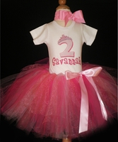 Pretty in Pink Princess birthday tutu set