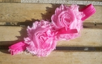 Princess Pink Shabby Chic flowers Headband