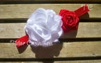 Red and White Satin Chiffon Flower Ribbon Rose Headband