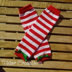 Red and White Striped Christmas Leg Warmers