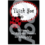 Red Ladybug personalized thank you cards