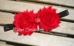 Red Ladybug Shabby Chic flowers Headband