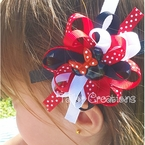 Red Minnie Mouse Loopy Flower Grosgrain Ribbon Hair
