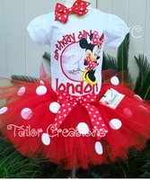 Red Minnie Mouse pink polka dot birthday tutu set