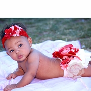 Red & Pink Hydrangea Bloomers & Pearl headband set