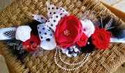 Red, white and Black Pearl Maternity Belt Sash