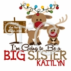 Pregnancy Announcement Reindeer Christmas T shirt