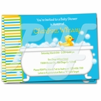 Rubber Ducky Tub Baby Shower Invitations