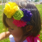 Satin Chiffon Cluster Inside Out Inspired Headband