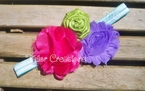 Satin Chiffon Flower Shabby Chic Headband