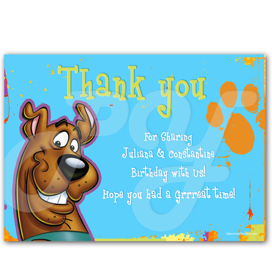 Doo personalized thank you cards – Scooby Doo Party Invitations