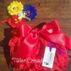Shabby Chic Headband & Red Petti Lace Bloomers/Shots
