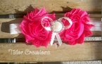 Shocking Pink and Ivory Shabby Chic Jewel flowers Headband