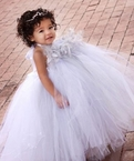 Silver Boa Feather tutu dress