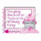 Sock Monkey Pink 1st personalized Party Favor t-shirt