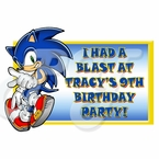Sonic the Hedgehog personalized party favor