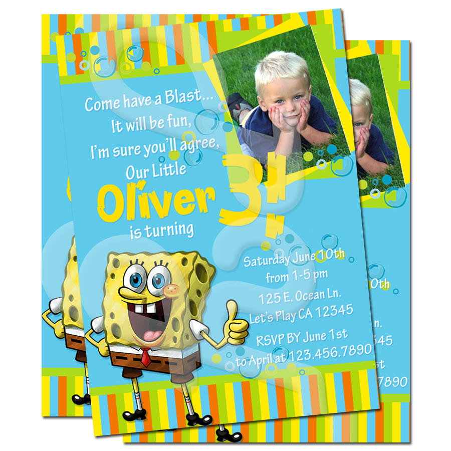 Famous Spongebob Birthday Invites Motif Invitation Card Ideas
