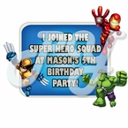 Super Hero Squad personalized party favor