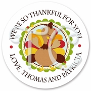 24 Thanksgiving Turkey personalized sticker