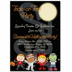 Trick or Treat Halloween personalized party invitations