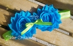 Turquoise and Lime Green Shabby Chic flowers Headband