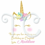 Unicorn Personalized Birthday Stickers