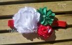 Vintage Inspired Holiday Satin Chiffon Flower Rose Pearl Headband