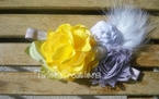 Vintage Inspired Lil' Miss Sunshine Satin Chiffon Flower Crystal Headband