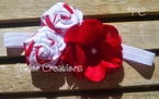 Vintage Inspired Red and White Candy Cane Satin Rose Pearl Headband