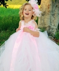 White and Pink Boa Feather tutu dress
