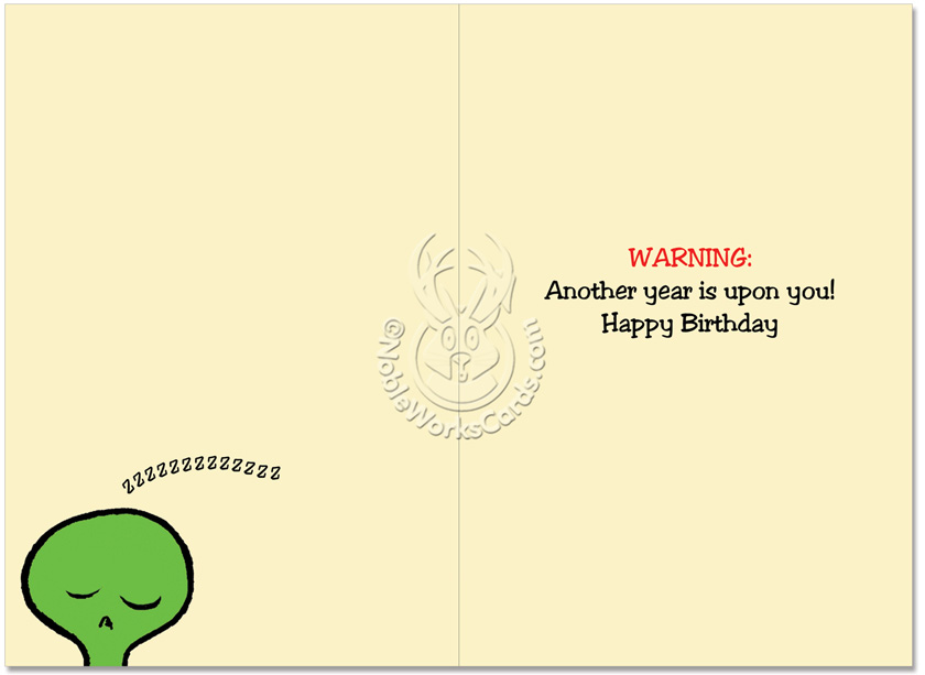 Alien On Plane Birthday Card Nobleworks – Joke Birthday Card