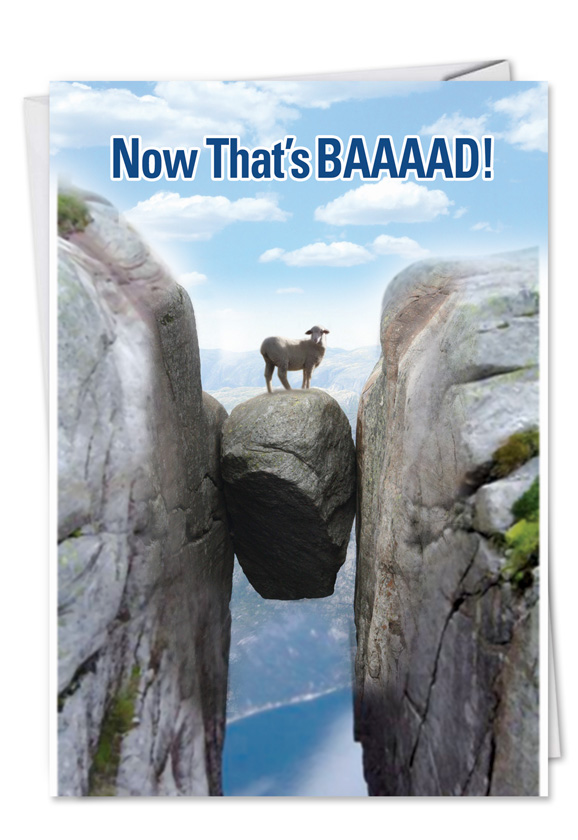 Funny Birthday Paper Greeting Card from NobleWorksCards.com - BAAAAD Luck