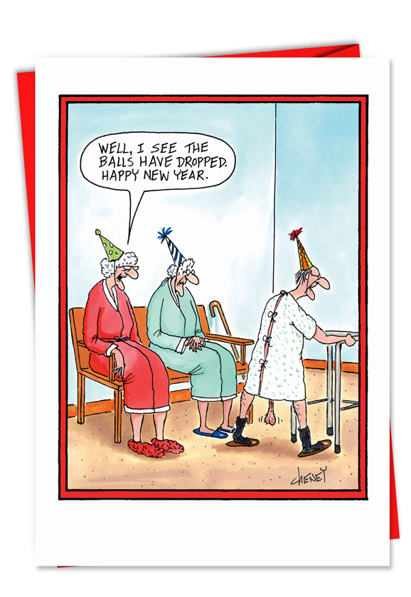 Attractive Funny New Year Printed Greeting Card By Tom Cheney From NobleWorksCards.com    Balls Dropped