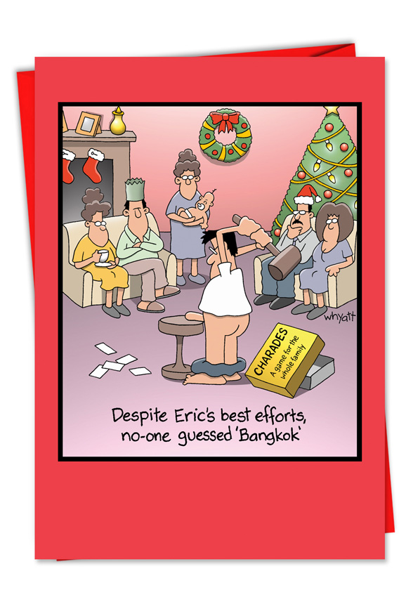 Bangkok Charade Cartoon Christmas Card by Tim Whyatt