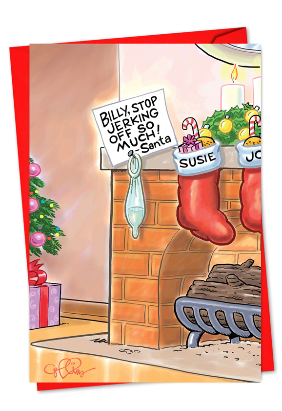 Humorous Christmas Printed Card by Daniel Collins from NobleWorksCards.com  - Billy Stop Jerking Off