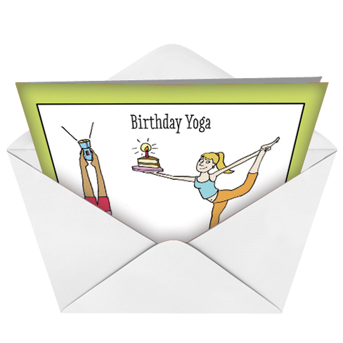Birthday yoga posing exercise cartoons birthday greeting card scrivan humorous birthday printed greeting card by maria scrivan from nobleworkscards birthday yoga image m4hsunfo
