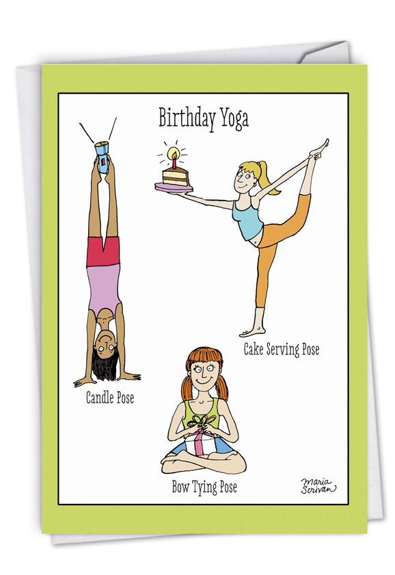 Birthday Yoga Posing Exercise Cartoons Greeting Card Scrivan