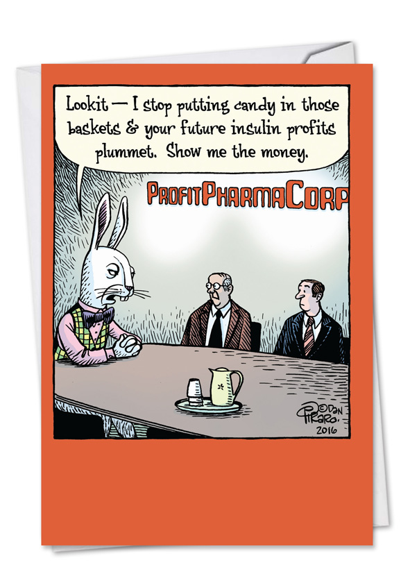 Easter Baskets For Sale: Blackmail Bunny Cartoons Easter Greeting Card Bizarro By
