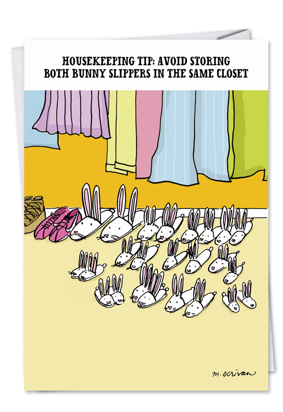 Adult funny birthday card bunny slippers humorous birthday greeting card by maria scrivan from nobleworkscards bunny slippers m4hsunfo