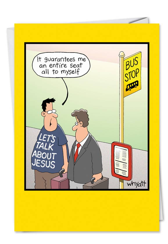 Funny Jesus T Shirt At Bus Stop Birthday Card Nobleworkscards