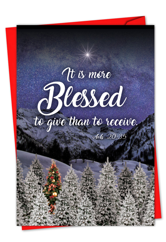 Christmas Quotes Acts 20:35: Creative Christmas Paper Card
