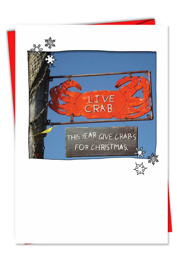 hilarious christmas paper greeting card from nobleworkscardscom crabs