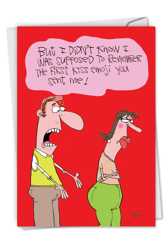 first kiss emoji mccoy brothers valentine s day card by gary mccoy