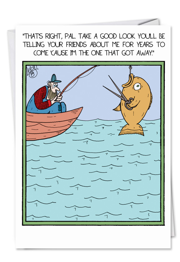 Fish with scissors cartoons birthday father paper card leigh rubin humorous birthday father greeting card by leigh rubin from nobleworkscards fish with scissors bookmarktalkfo Gallery
