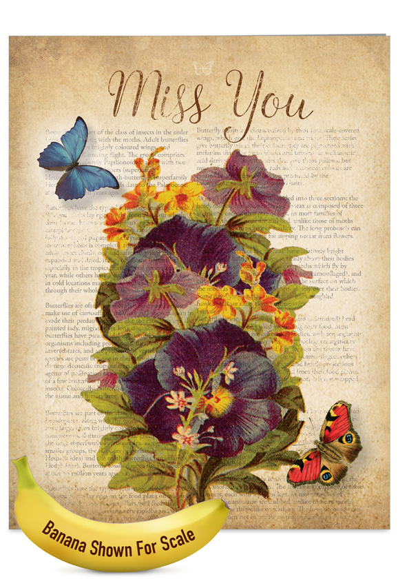 Fluttering words nobleworks by design miss you greeting card nobleworks creative miss you jumbo greeting card from nobleworkscards fluttering words m4hsunfo