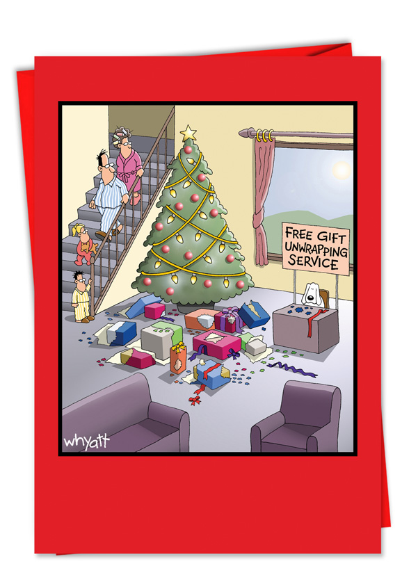 Gift Unwrapping Service Cartoon Christmas Card