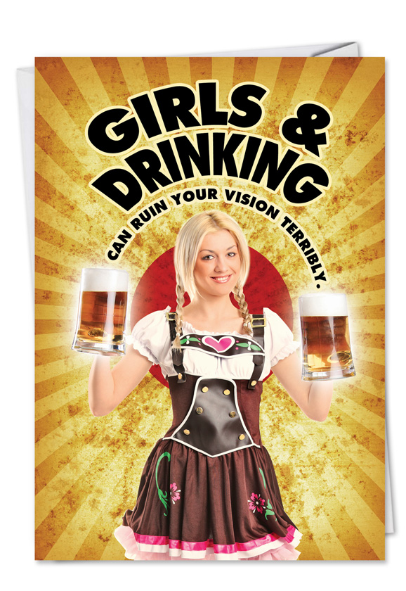 Girls And Drinking Funny Talk Bubbles Happy Birthday Card