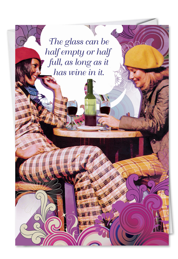 glass half full unique naughty birthday greeting card