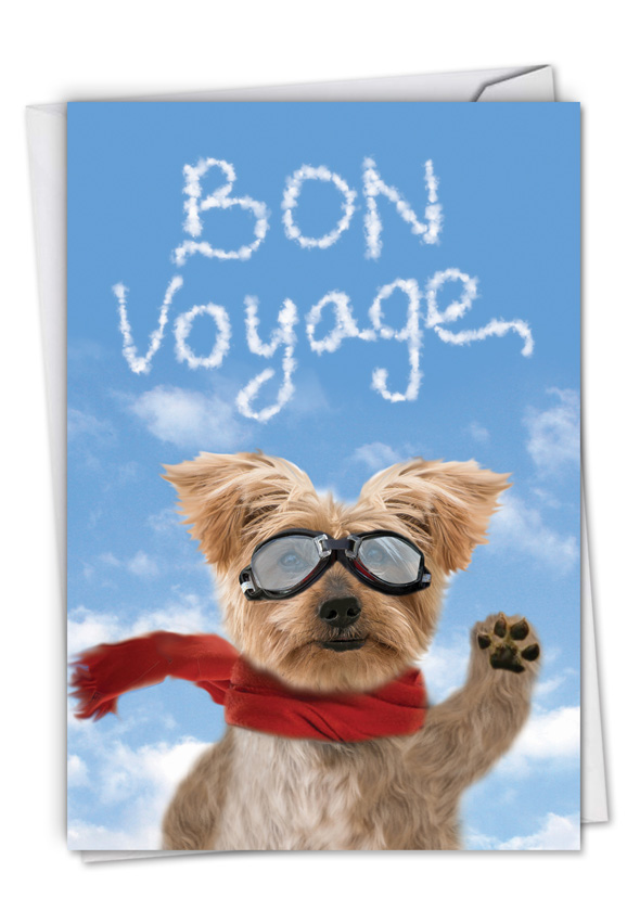 goodbye dog  funny bon voyage paper greeting card